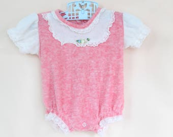 4638b6181fa9 Vintage Romper   Vintage Red Baby Girl Romper   Vintage Terry Cloth  Playsuit   Newborn