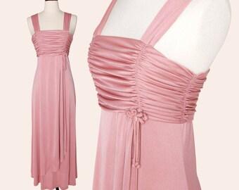 2e0af9314af Vintage 70s Dress   Pink Maxi Dress   Dustry Rose Ruched Dress