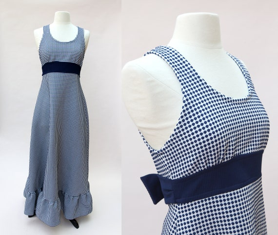 Vintage 70s Maxi Dress / Navy Blue White Dotted Ma