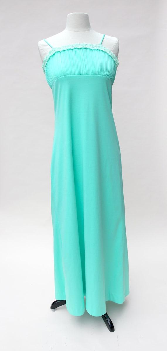 ce3a3b9b9a7 Vintage 70s Dress   Vintage Seafoam Green Maxi Sundress
