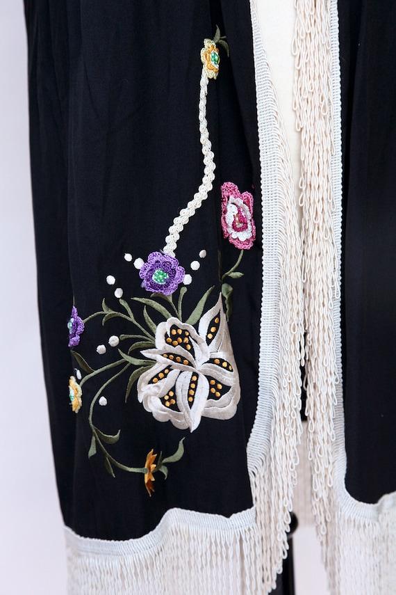 Vintage Duster / Black Floral Fringe Duster - image 6