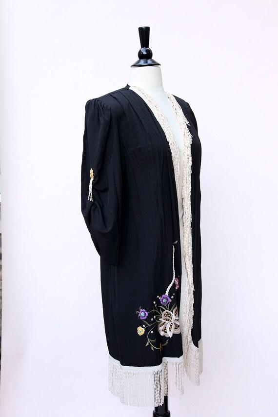 Vintage Duster / Black Floral Fringe Duster - image 3