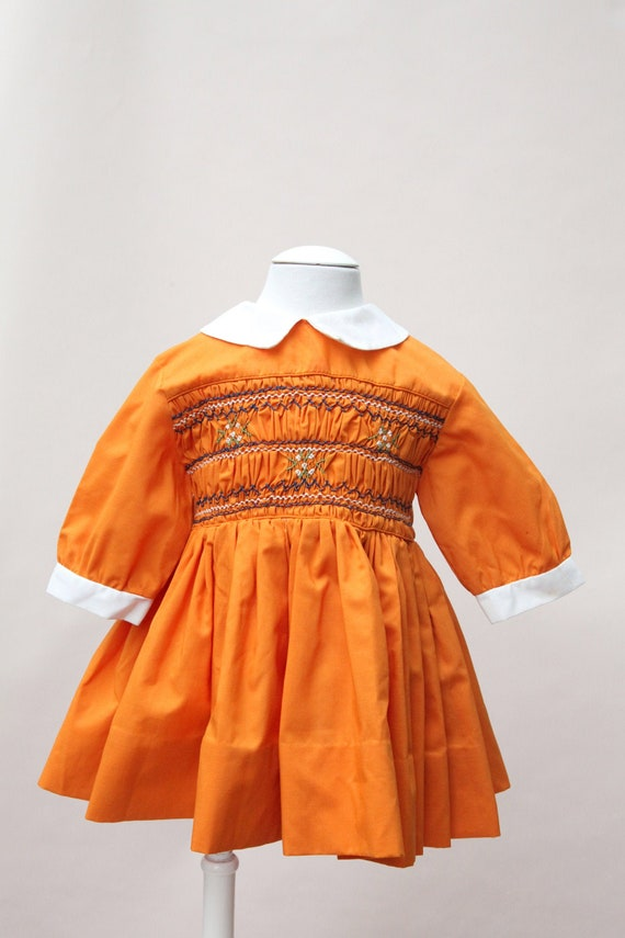 Vintage Toddler Dress / Polly Finders Pumpkin Smoc