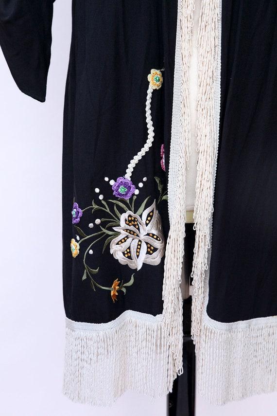 Vintage Duster / Black Floral Fringe Duster - image 7