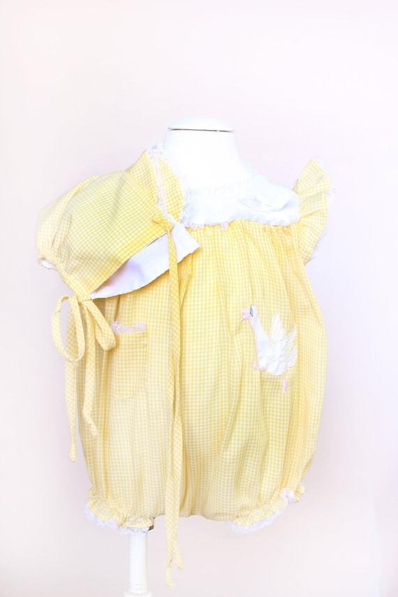 Vintage Baby Romper / Yellow Gingham Goose Romper