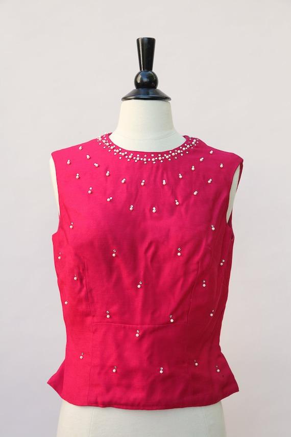Vintage Hot Pink Rhinestone Pearl Sleeveless Shell