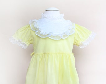 Vintage Toddler Dress / Vintage Yellow Ruffle Dress / Size 12-18 Months