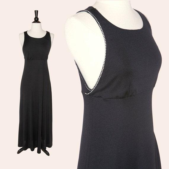 Vintage 70s Black Maxi Dress Black Open Back Dress Etsy
