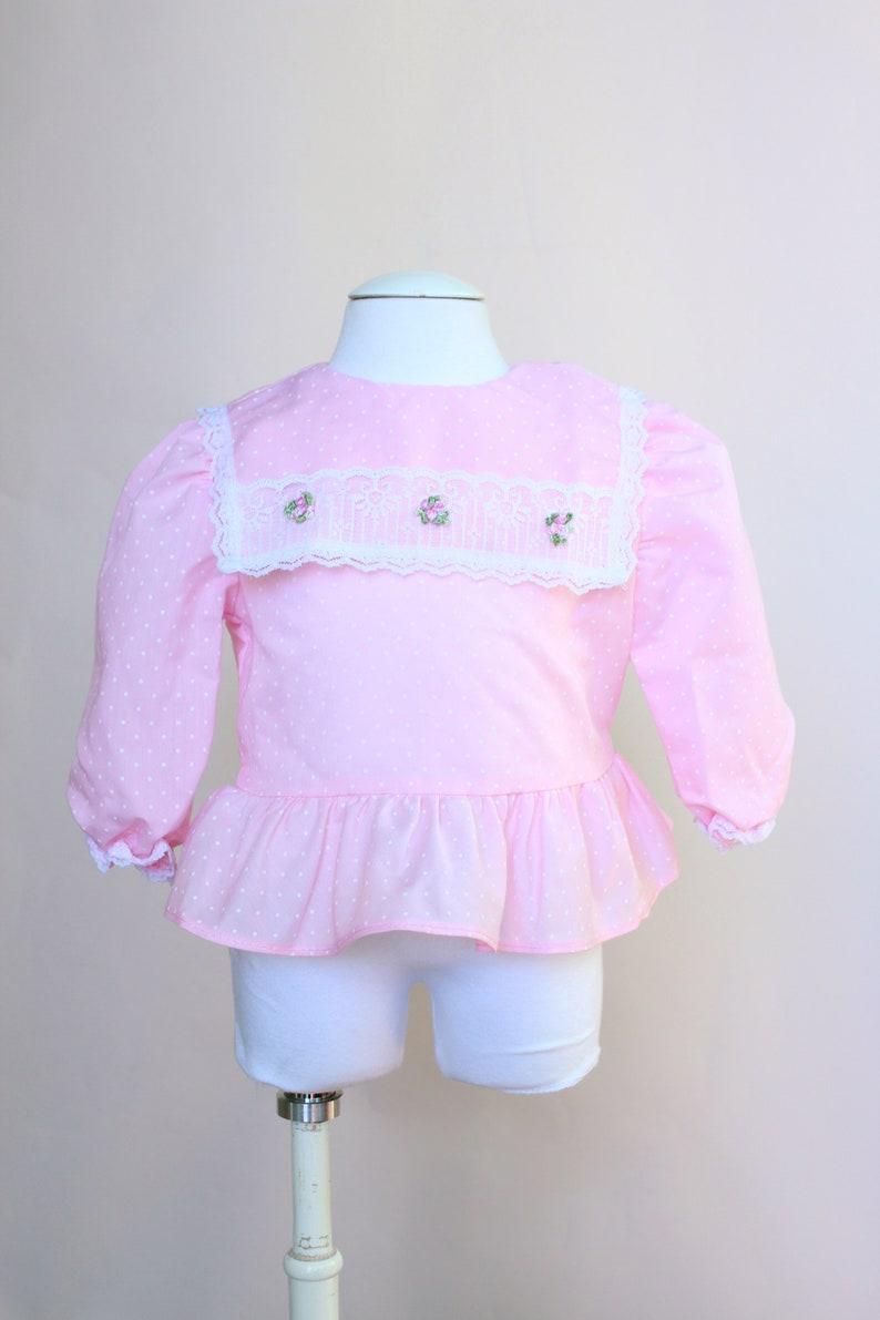 edf252ccf Vintage Baby Top   Vintage Pink Swiss Dot Peplum Blouse   Size