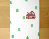 Cabin and Trees Note Set