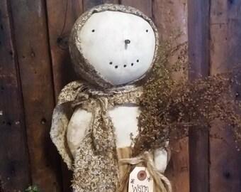 Primitive Snow Prairie Stump Doll