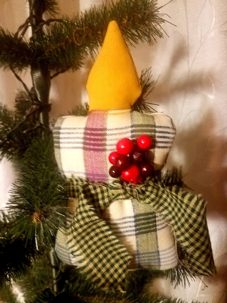 FABRIC CHRISTMAS CANDLE ORNAMENT