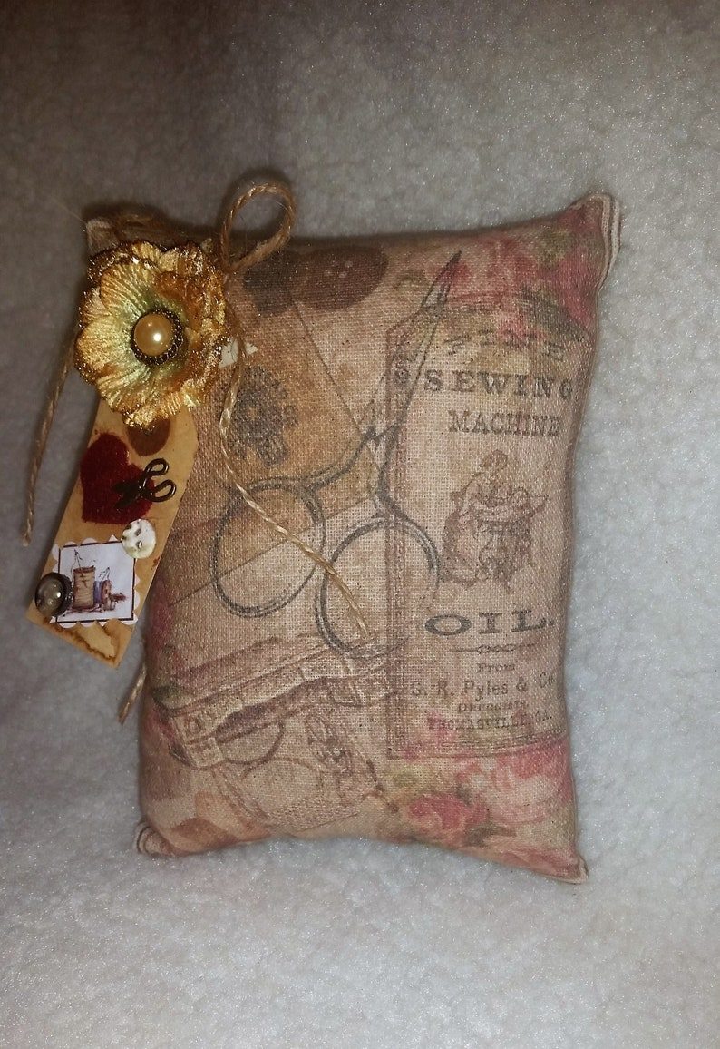 Vintage Sewing Collage Pillow  Mini Pillow  Cupboard Tuck  image 0