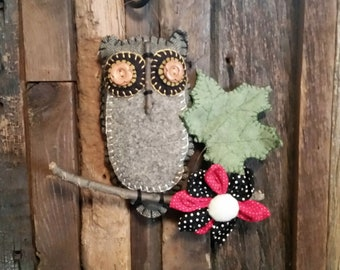 Folk Art 100% GRAY WOOL OWL Hanging Ornament