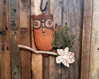 Folkart Wool Owl Hanging Ornament