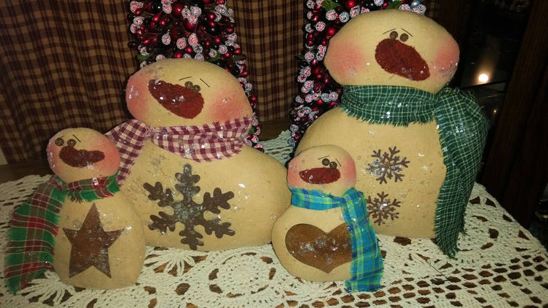 Snowman Family  Snowman Dolls  Snowman  Winter Decor  image 0