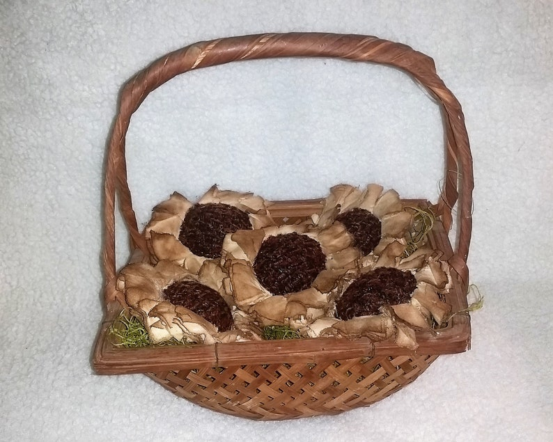Sunflower Bowl Fillers  Flower Ornaments  Primitive Decor  image 0