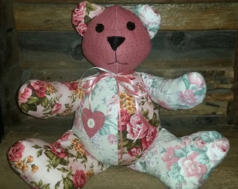 Handmade Shabby Cottage Country Chic Soft Sitting Teddy Bear