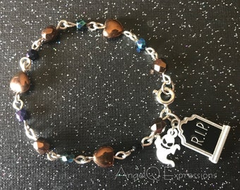 Paranormally Yours Graveyard Girl Beaded Bracelet with Tombstone and Ghost OOAK