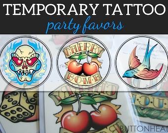 Retro Sailor Jerry Temporary Tattoos - Fake Tattoo Flash - Redneck Party Favors - Set of 12
