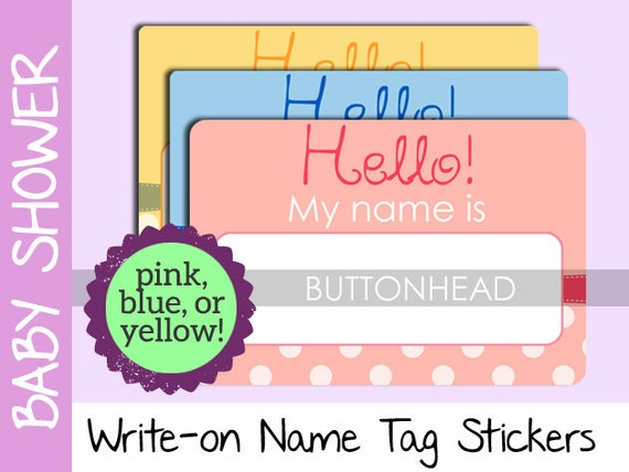 10 baby shower name tags stickers pink blue or yellow etsy