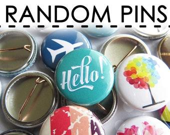 """Random Buttons Pins Mix – 1"""" Mini Bulk Resale Wholesale Loose Lot"""