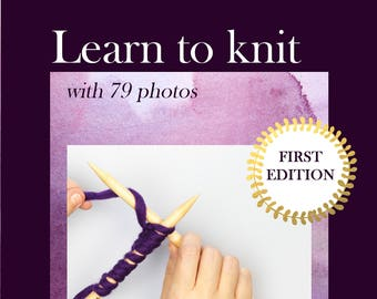 Learn to knit ebook - knitting - knitting e-book - DIY how-to - knit ebook - PDF instant download