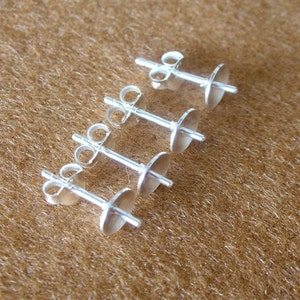 50 Pieces 925 Sterling Silver Pad Earring Post With PEG and Earring Backs 4 MM. PAD - 25 Pairs