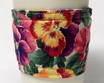 Coffee Cozy, Cup Sleeve, Eco Friendly, Slip-on, Teacher Appreciation, Co-Worker Gift, Bulk Discount: Pansy Print