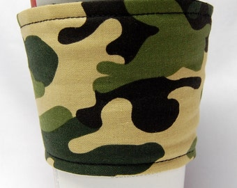 Coffee Cozy, Cup Sleeve, Eco Friendly, Slip-on, Teacher Appreciation, Co-Worker Gift, Bulk Discount: Camo - II