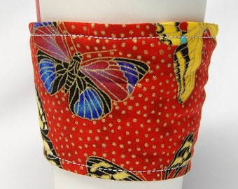 Clearance - Coffee Cozy, Cup Sleeve, Eco Friendly, Slip-on, Teacher Appreciation, Co-Worker Gift: Butterflies on Red