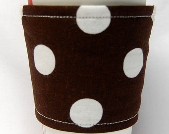 Coffee Cozy, Cup Sleeve, Eco Friendly, Slip-on, Teacher Appreciation, Co-Worker Gift, Bulk Discount: Large White Polka Dot on Brown