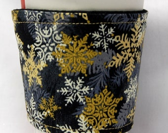 Christmas -Coffee Cozy, Cup Sleeve, Eco Friendly, Slip-on,Teacher Appreciation, Co-Worker Gift: Christmas Gold/White Snowflakes-Black