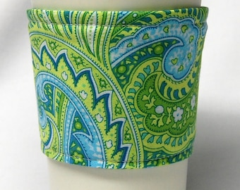 Coffee Cozy/ Cup Sleeve Eco Friendly Slip-on, Teacher Appreciation, Co-Worker Gift, Bulk Discount: Green, Blue and Teal Paisley