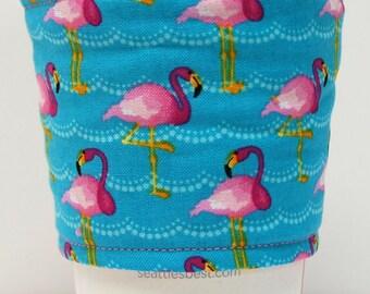 Coffee Cozy, Cup Sleeve, Eco Friendly, Slip-on, Teacher Appreciation, Co-Worker Gift, Bulk Discount: Pink Flamingos on Aqua