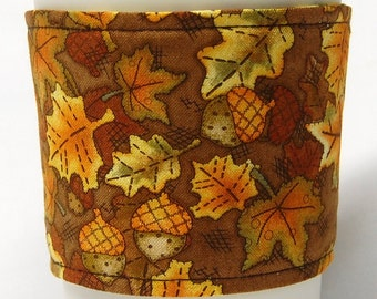 Coffee Cozy, Cup Sleeve, Eco Friendly, Slip-on: Fall Leaves and Acorns on Brown