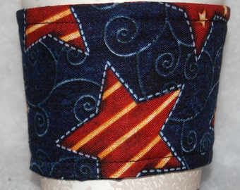 Coffee Cozy, Cup Sleeve, Eco Friendly, Slip-on, Teacher Appreciation, Co-Worker Gift, Bulk Discount: Rust and Cream Striped Stars on Blue