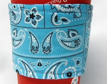 Clearance - Coffee Cozy/Cup Sleeve Eco Friendly Slip-on, Teacher Appreciation, Co-Worker Gift: Aqua Bandanna Print