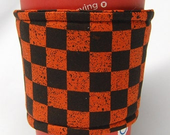 Clearance - Coffee Cozy/Cup Sleeve Eco Friendly Slip-on, Teacher Appreciation, Co-Worker Gift: Orange and Black Checkered