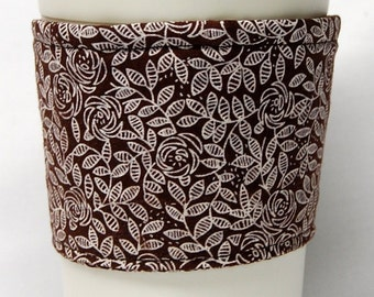 Coffee Cozy, Cup Sleeve, Eco Friendly, Slip-on, Teacher Appreciaiton, Co-Worker Gift, Bulk Discount: Outline-Flowers and Leaves on Brown