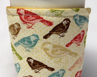 Coffee Cozy, Cup Sleeve, Eco Friendly, Slip-on, Teacher Appreciation, Bulk Discount: Earth-Tone Birds on Cream