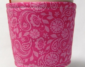 Coffee Cozy, Cup Sleeve, Eco Friendly, Slip-on, Teacher Appreciation, Co-Worker Gift, Bulk Discount: Pink Paisley and Floral