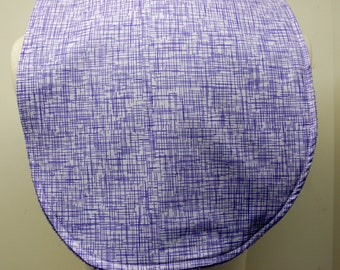 Youth/Junior Girl Bib, Special Needs, Cerebral Palsy, Epilepsy, Retts Syndrome, Drooling, 14-inch neck opening: Purple Hash Lines on White