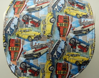 Youth/Junior Bib, Boy Special Needs, Cerebral Palsy, Epilepsy, Seizures, Drooling, Adaptive Clothing 14-inch Neck Opening:  Vintage Cars