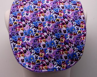 Youth/Junior Girl Bib, Special Needs, Cerebral Palsy, Epilepsy, Retts Syndrome, Drooling, 14-inch neck opening: Purple and Blue Pansies
