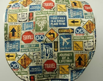 Youth/Junior Bib, Boy Special Needs, Cerebral Palsy, Epilepsy, Seizures, Drooling, Adaptive Clothing 14-inch Neck Opening:  Road Trip Signs
