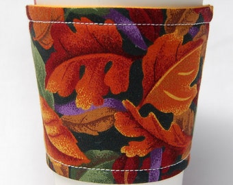 Coffee Cozy, Cup Sleeve, Eco Friendly, Slip-on, Teacher Appreciation, Co-Worker Gift, Bulk Discount: Orange Fall Leaves and Purple Ribbon
