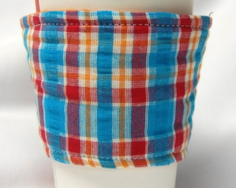 Clearance - Coffee Cozy, Cup Sleeve, Eco Friendly, Slip-on, Teacher Appreciation, Bulk Discount: Blue, Red, Orange and White Plaid