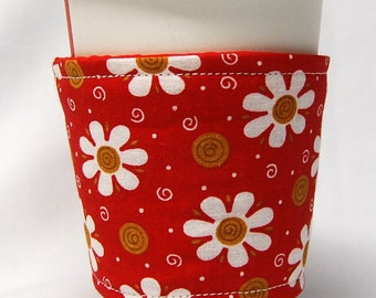Clearance - Coffee Cozy, Cup Sleeve, Eco Friendly, Slip-on: White Daisies on Red