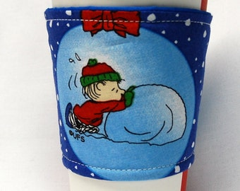 Coffee Cozy, Cup Sleeve, Eco Friendly, Slip-on: Linus Pushing Snowball FREE US 1st Class S/H on 5-9 cup cozy order